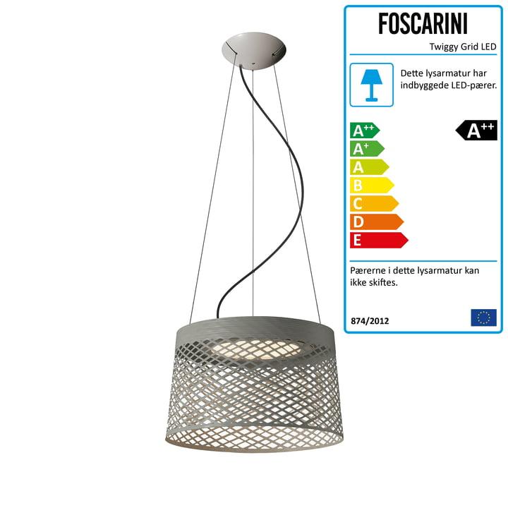 Foscarini - Twiggy Grid LED pendel lampe, grå