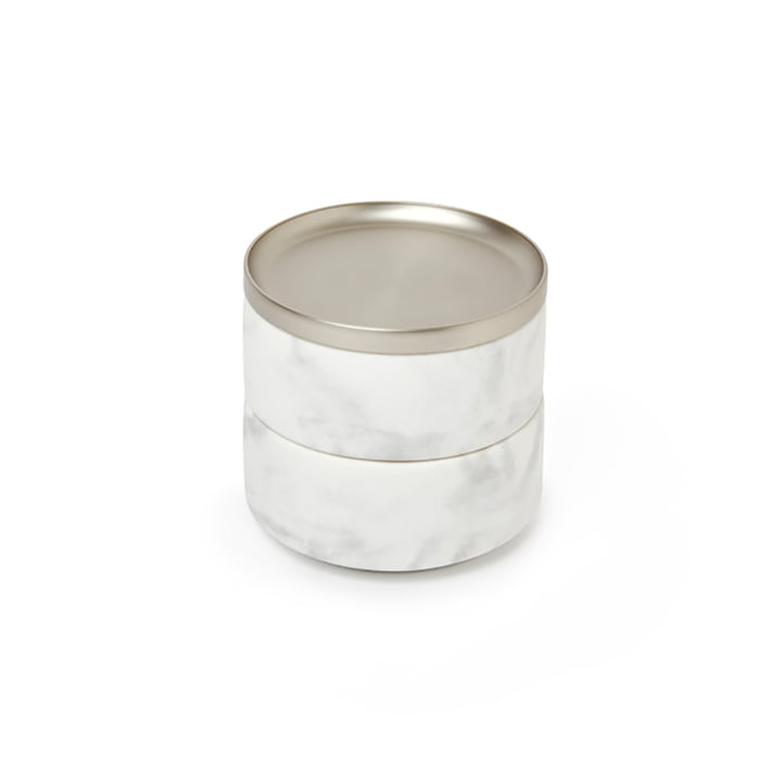 Tesora opbevaring af Umbra i nikkel / marmor hvid