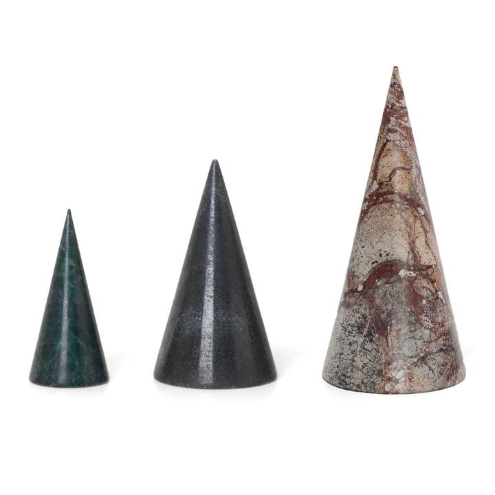 ferm Living - Marmor dekorative træer (sæt af 3), grøn / sort / brun