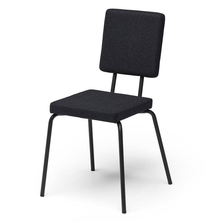 Valgstol, sæde og ryglæn firkantet af Puik i sort / sort