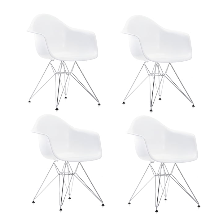 Forfremmelse: 4 x Eames Plastic lænestol DAR fra Vitra i krom / hvid