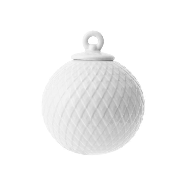 Rhombe deco bold i hvid af Lyngby Porcelæn