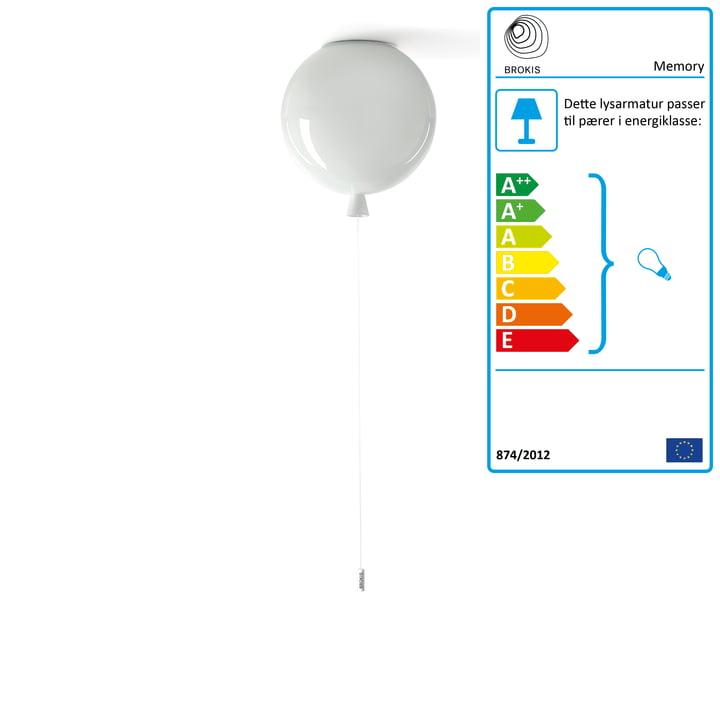 Hukommelsesloftlampe fra Brokis - Ø 25 x H 27,5 cm, hvidt / hvidt kabel