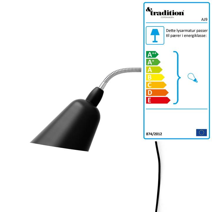 Bellevue væglampe AJ9 af & tradition i sort / stål