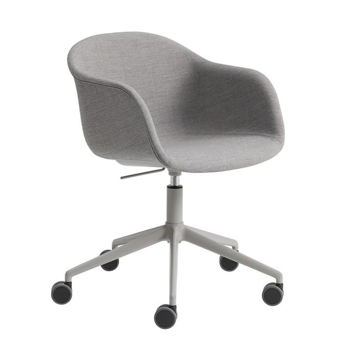 Fiber kontorlænestol Swivel Base af Muuto i aluminiumgrå / grå (Remix 133)