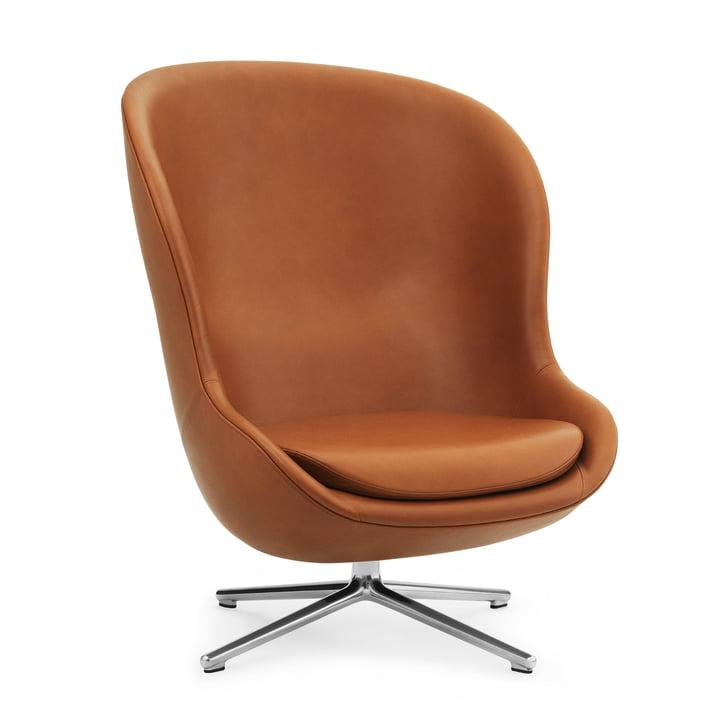 Hyg Lounge Chair Swivel Tilt High fra Normann Copenhagen - Aluminium / Ultra Leather (Brandy 41)