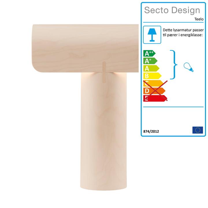 Teelo 8020 bordlampe fra Secto i bjørk