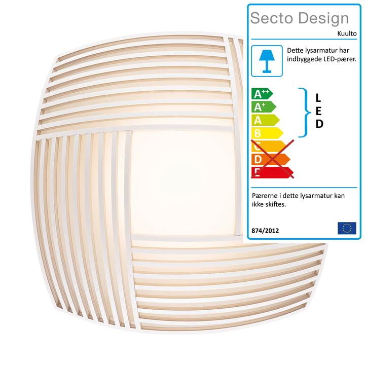 Kuulto 9100 LED væg- og loftslampe fra Secto i hvid