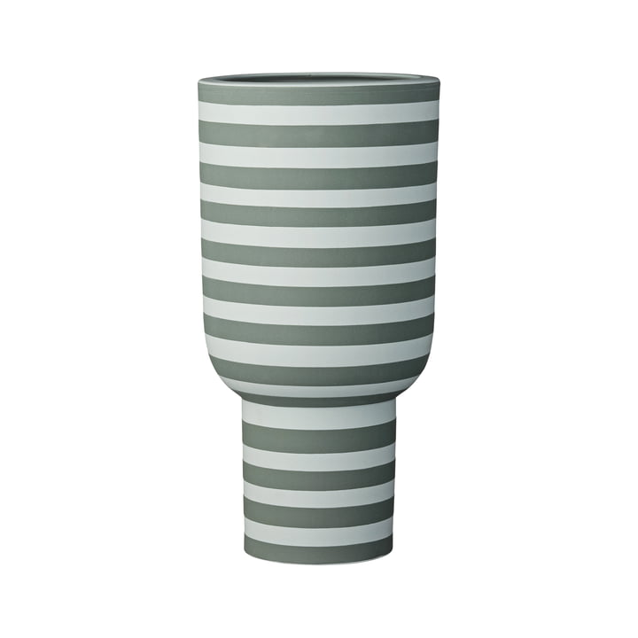 Varia Sculptural Vase, Ø 15 x H 30 cm i støvet grøn / skov fra AYTM