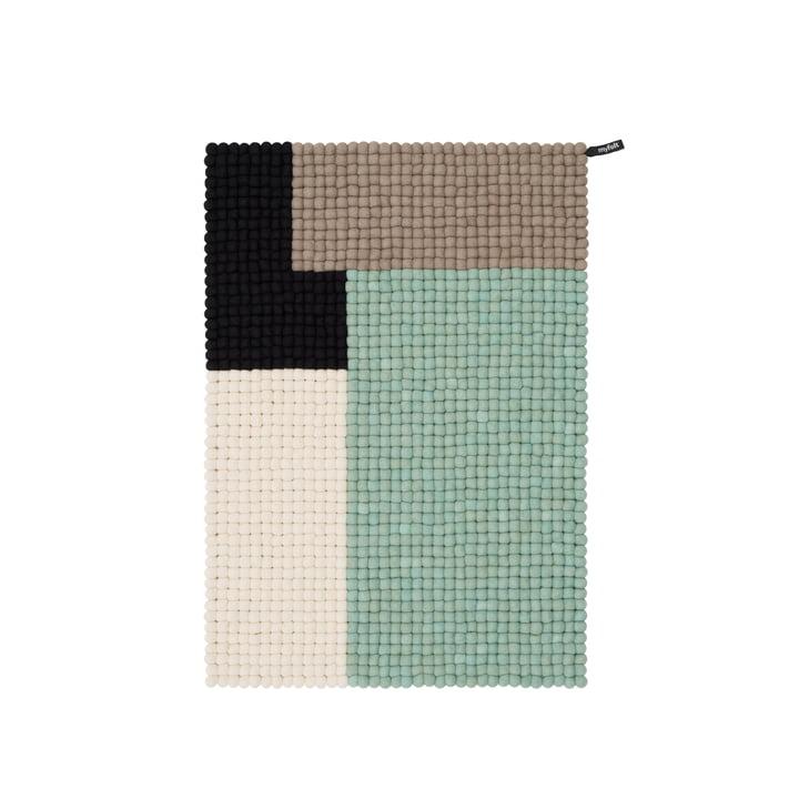 Terning filt kugletæppe, 70 x 100 cm, mynte / sort / hvid / brun af myfelt