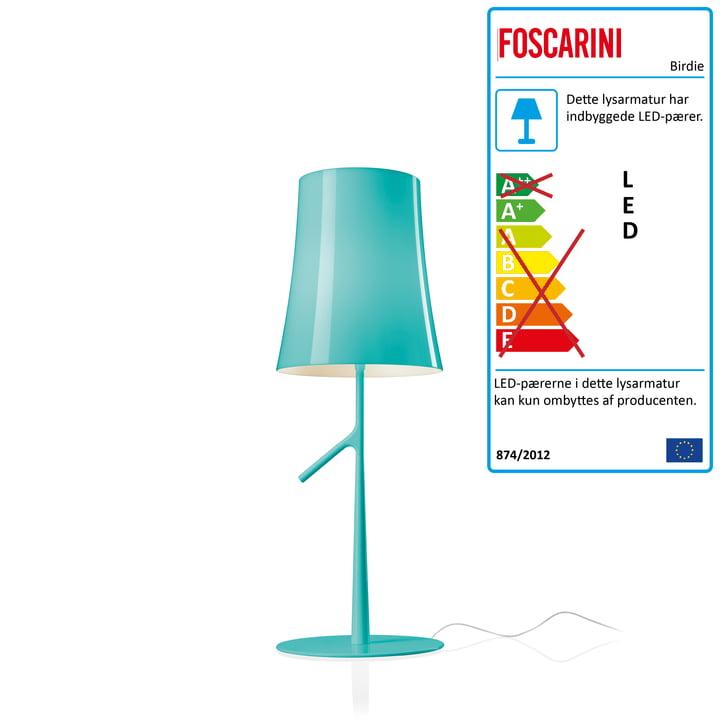 Birdie Piccola LED bordlampe med lysdæmper fra Foscarini i aqua