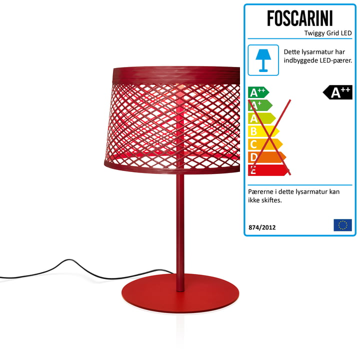 Twiggy Grid XL LED bordlampe af Foscarini i carmine