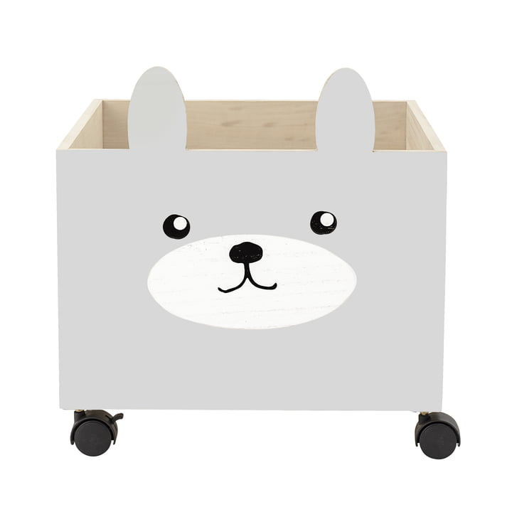 Legetøjskasse med ruller af Bloomingville i grå / hvid