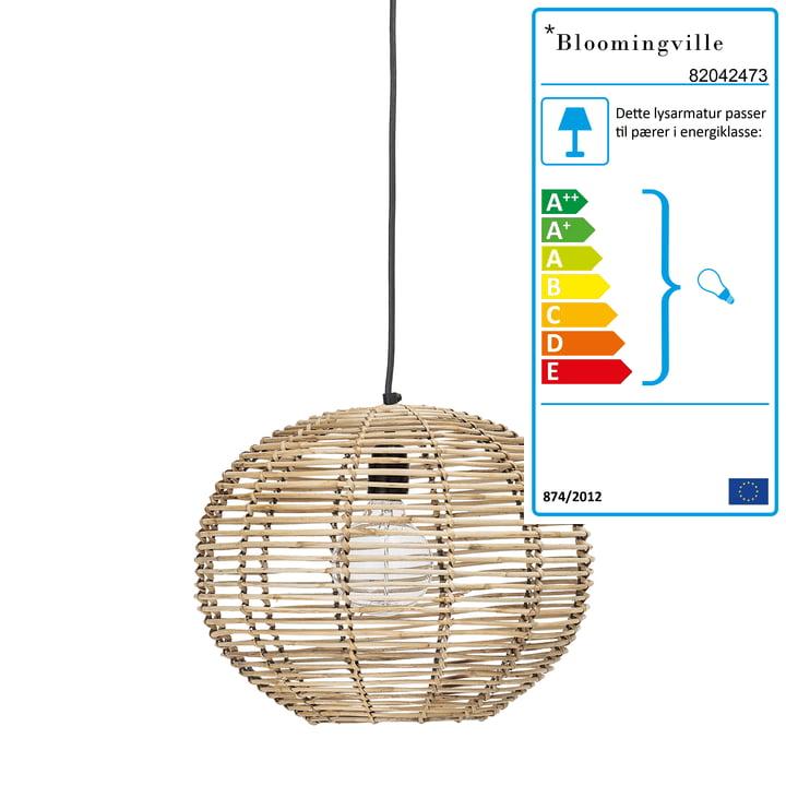 Rattan vedhæng lampe af Bloomingville, Ø 38 x H 29 cm