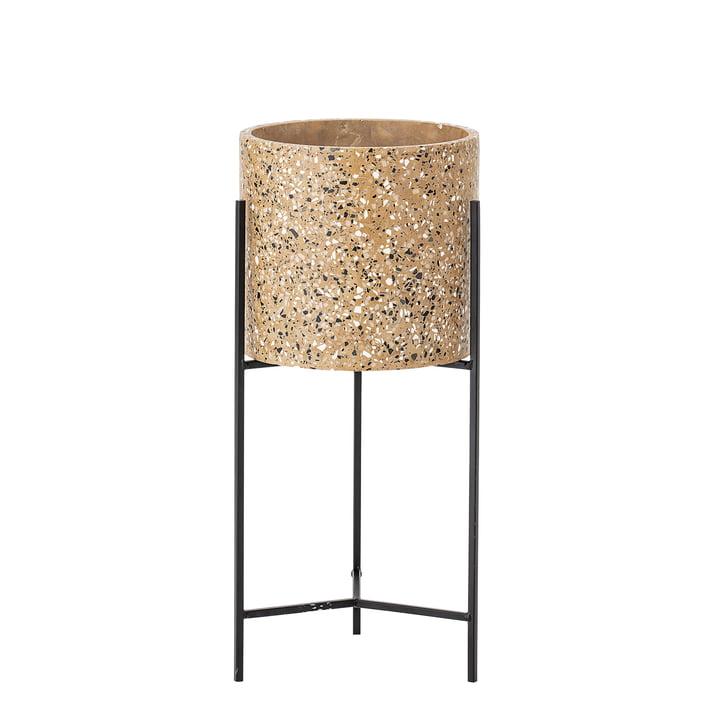 Plant pot med ramme af Bloomingville, Ø 23 x H 50 cm i beton / sort