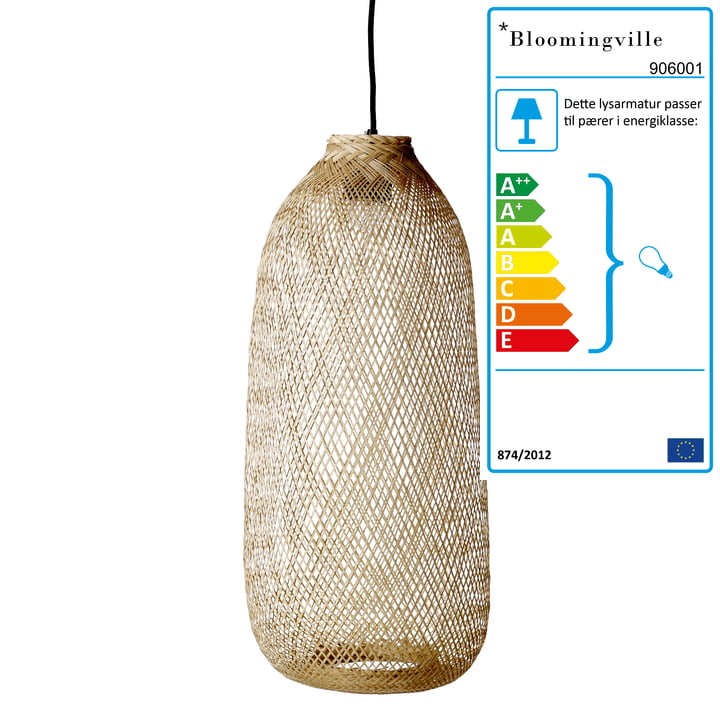 Bambus vedhængslampe af Bloomingville, Ø 25 x H 65 cm