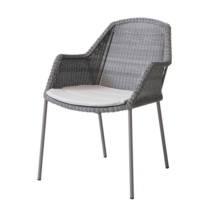 Sædeunderlag til Breeze lænestol, der kan stables af Cane-line i lysegrå