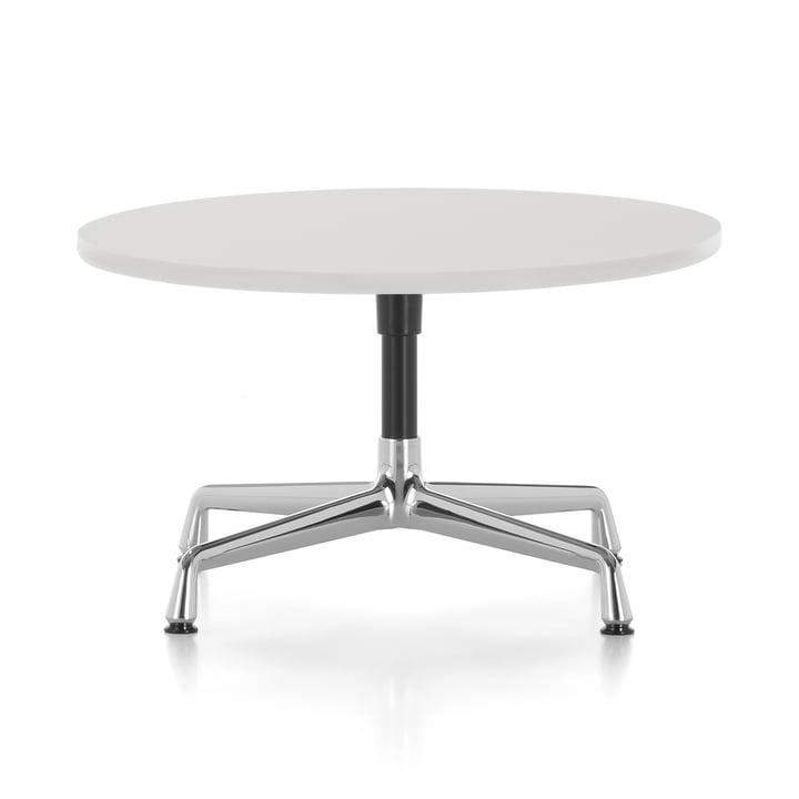 Eames Sidebord Ø 70 x H 40 cm ved Vitra i poleret aluminium / grund mørk / melamin hvid