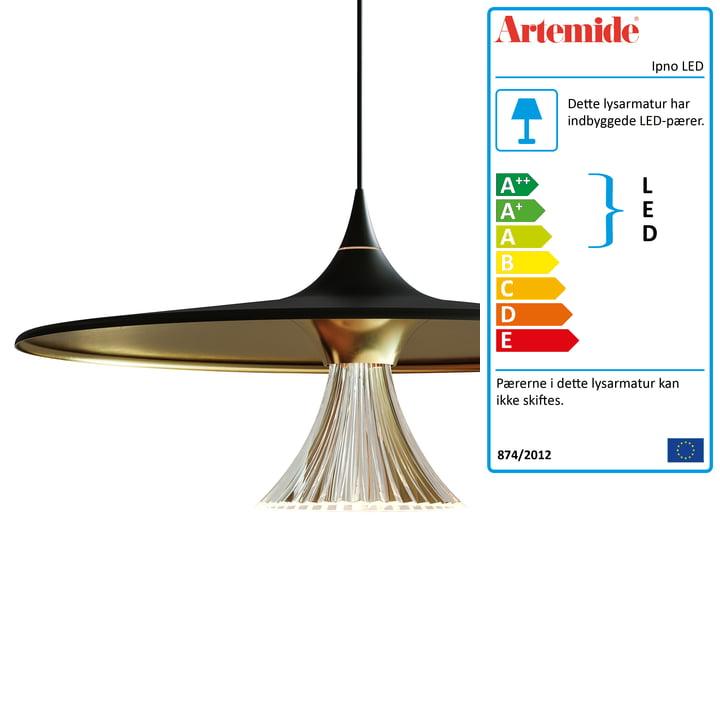 Ipno LED vedhæng af Artemide i sort / guld