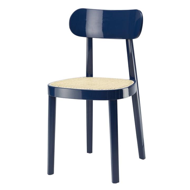 118 stol af Thonet, sukkerrør med plaststøtte stof / bøg safirblåt lakeret (RAL 5003) (specialudgave)