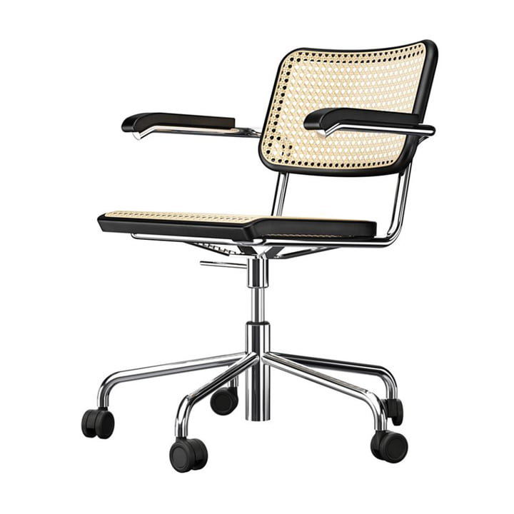 S 64 VDR drejestol, krom / bøg farvet sort (TP 29) / rørformet net med plastunderstøt stof fra Thonet