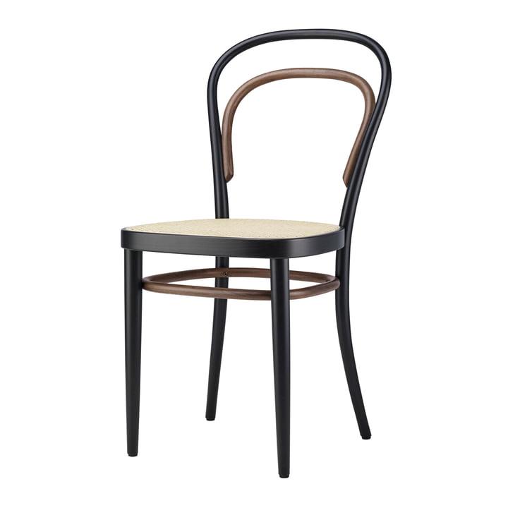 214 Bentwood stol, kurve med plastikbeklædning / Beech Two-Tone Black af Thonet
