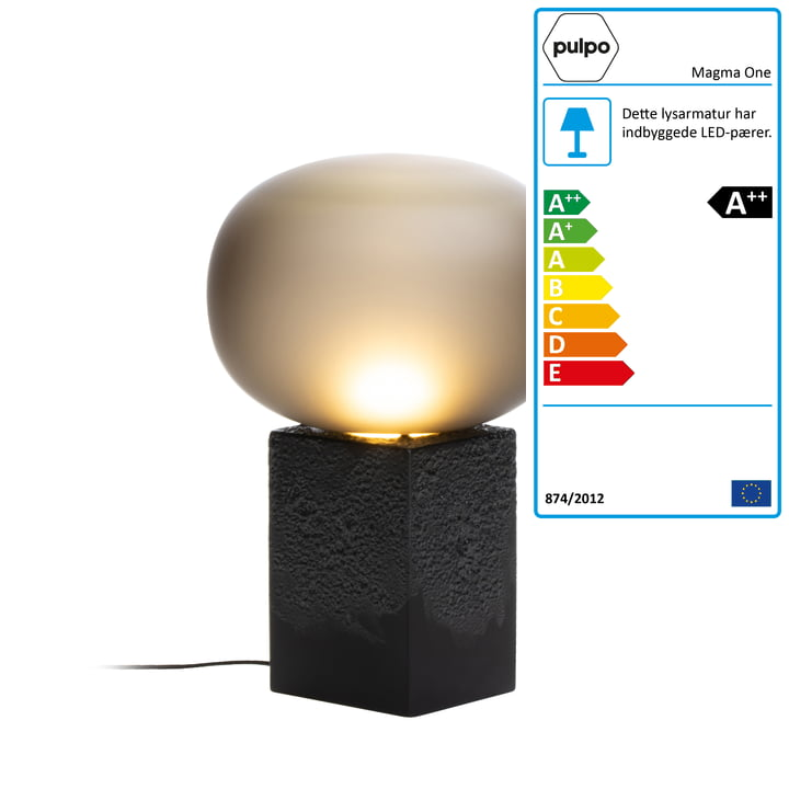 Magma One High bordlampe af Pulpo i røggrå / sort