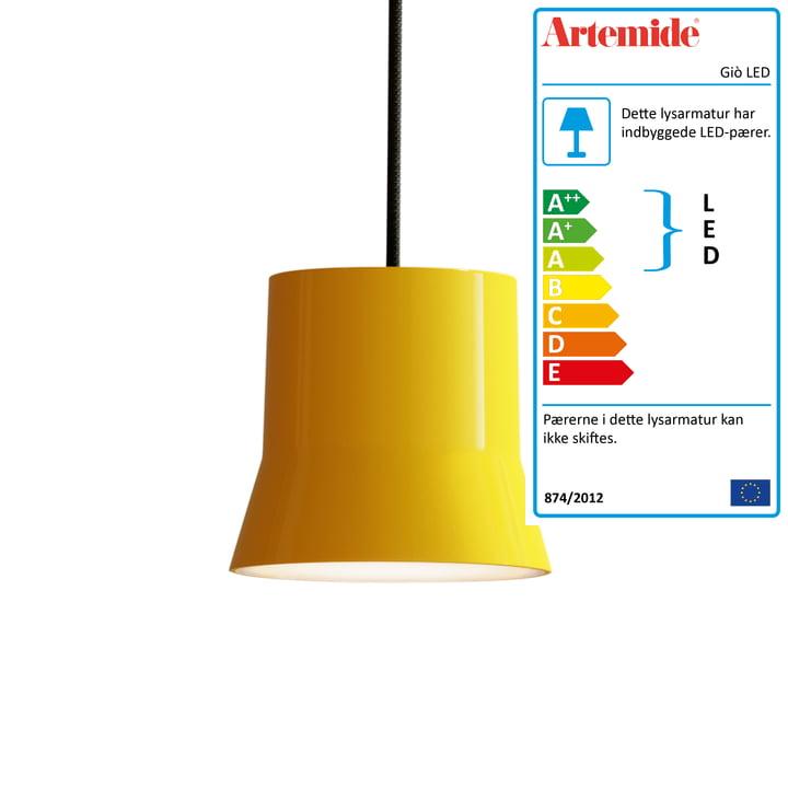 Giò LED vedhæng lys af Artemide i gul