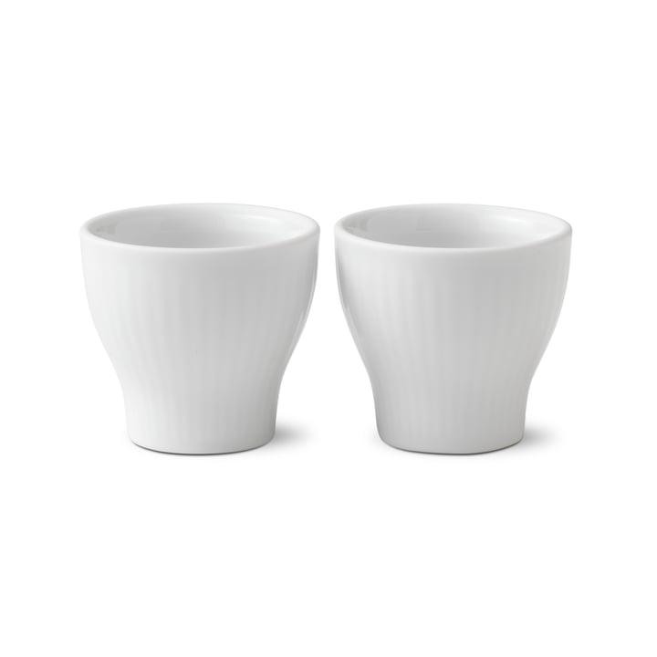 Hvid Ribbet Eggcup (Set of 2) fra Royal Copenhagen