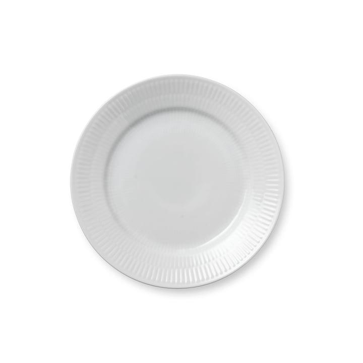 Hvid Ribbet morgenmadsplade flad, Ø 19 cm fra Royal Copenhagen