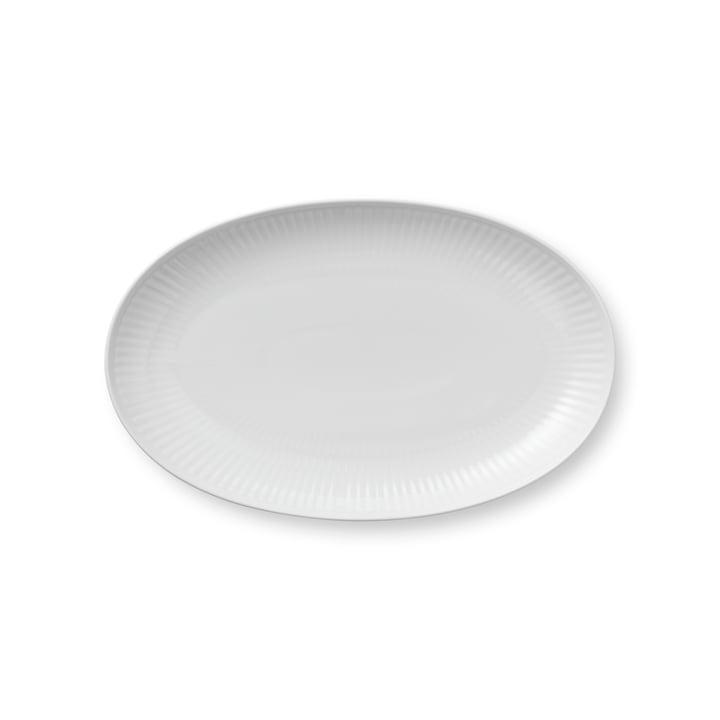 Hvidt ribbet ovalt fad 23 cm fra Royal Copenhagen