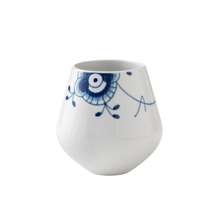 Mega blå ribbet vase lille H 12 cm fra Royal Copenhagen