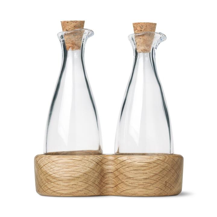 Menageri olie og eddikeflaske af Kay Bojesen i eg mattlakeret
