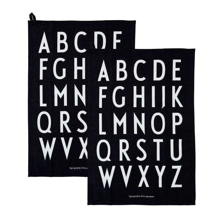 Klassisk viskestykke i sort (sæt med 2) fra Design Letters