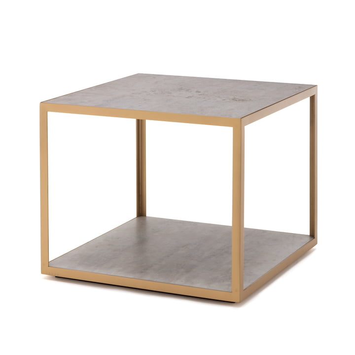 181 Sidebord 50 x 50 cm freestyle i keramisk beton / stålperle guld (RAL 1036)