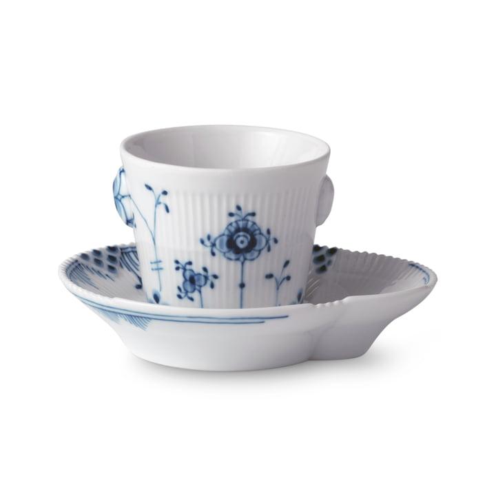 Elements blå espressokop og underkop 9 cl fra Royal Copenhagen