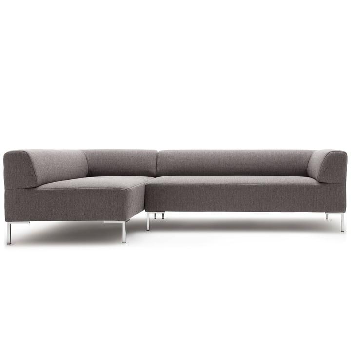 185 sofa hjørne chaiselong efterladt af freistil med vinklet ben krom / betræk signalgrå (1012)