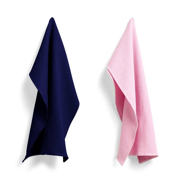 Vaffeltehåndklæde 75 x 52 cm af hø i kølig rose / midnat blå (sæt af 2)