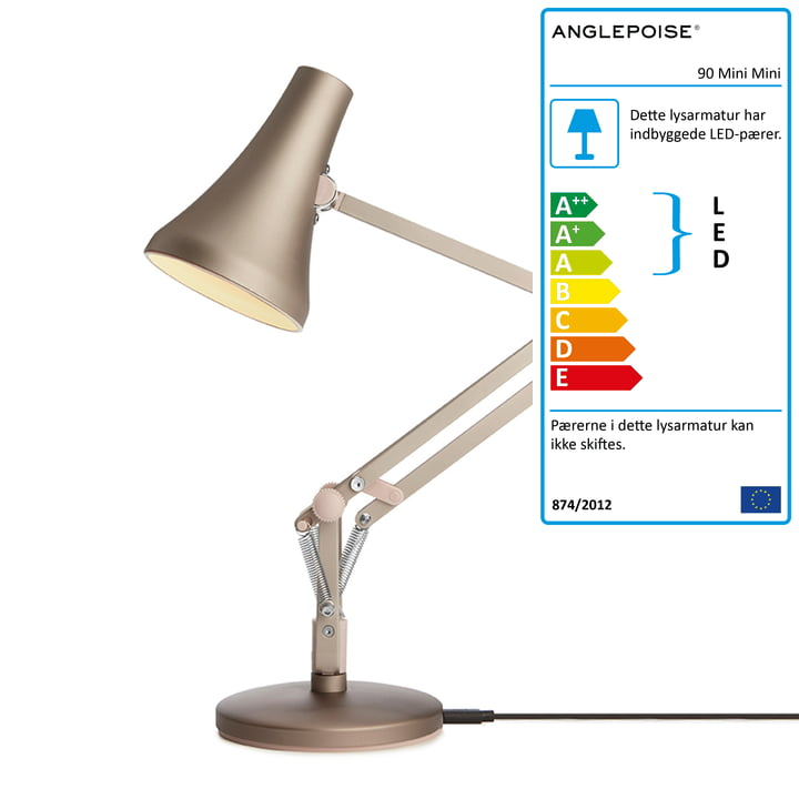 90 Mini Mini LED bordlampe af Anglepoise i varm sølv / rødme