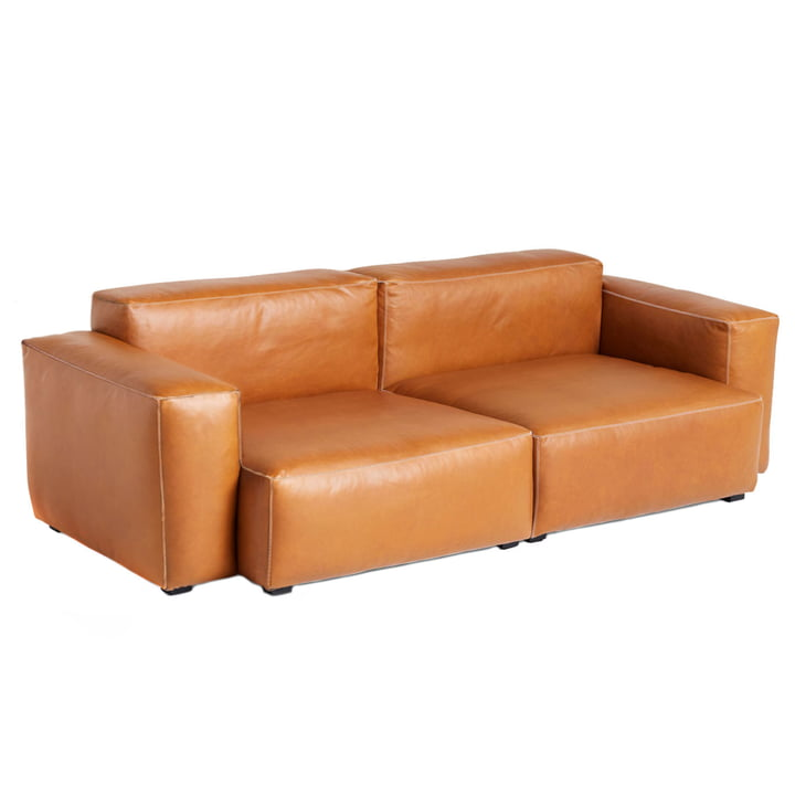Mags Soft Sofa 2,5 seter kombination 1 armlæn lav med høje i læder Cognac (Sil0250) / sømme lysegrå