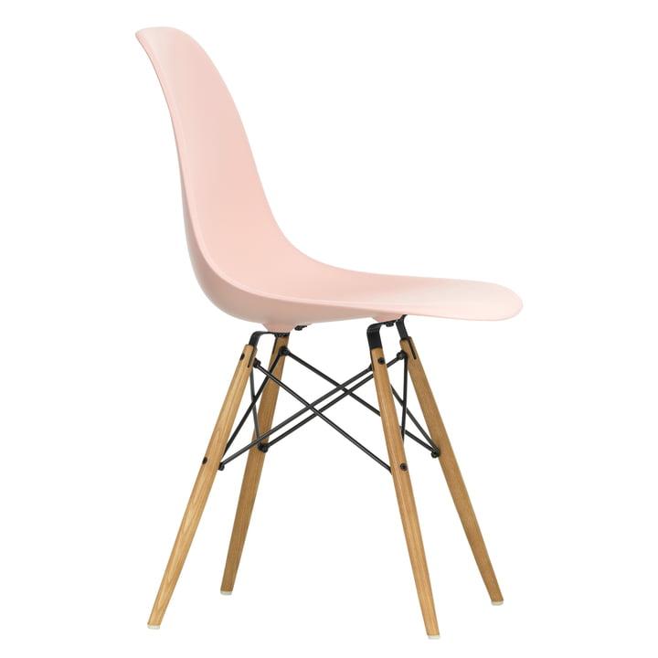 Eames Plastic Side Chair DSW af Vitra i ahorn gullig / blød pink