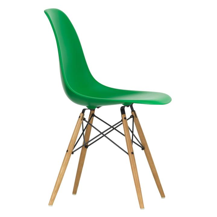 Eames Plastic Side Chair DSW af Vitra i ahorn gullig / grøn