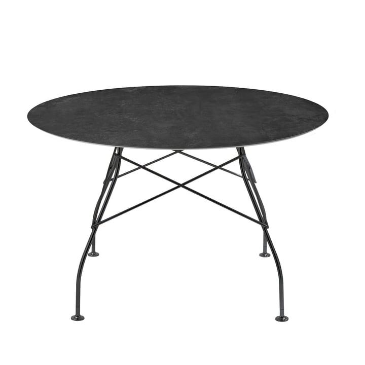 Glatt bord Ø 118 x H 72 cm af Kartell i sort / marmor sort