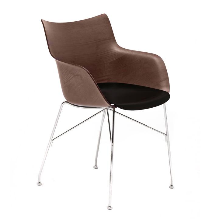 Q / Træ lænestol af Kartell i krom / sort / mørk
