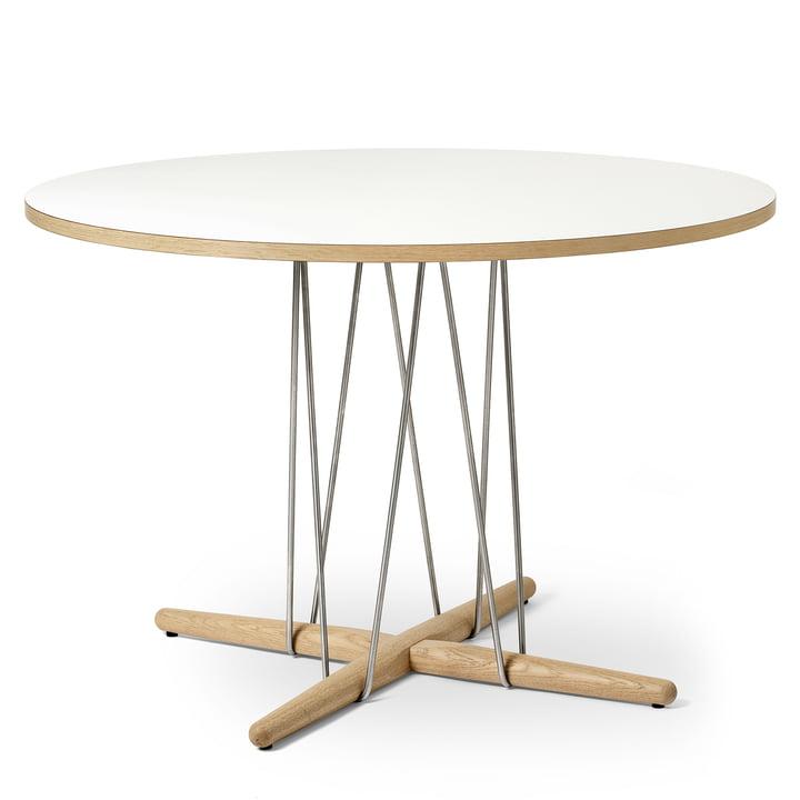 E020 Embrace bord Ø 110 cm i hvid olieret eg / laminat hvid / stål krom af Carl Hansen