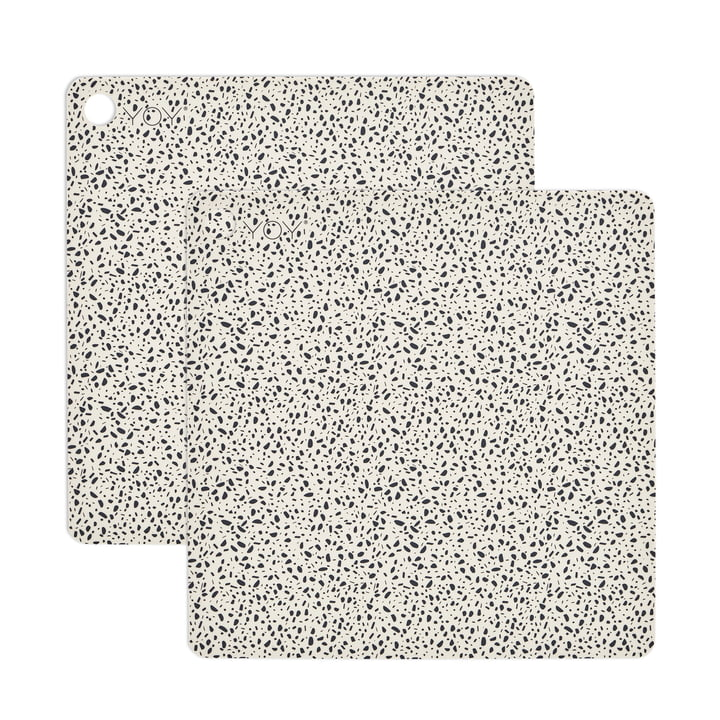 Placemat Terrazzo, 38 x 38 cm i hvid (sæt af 2) af OYOY