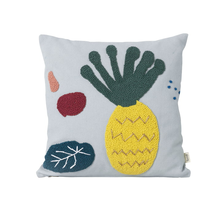 "Broderet Kids Pillow ""Pineapple"" af ferm Living in blue"