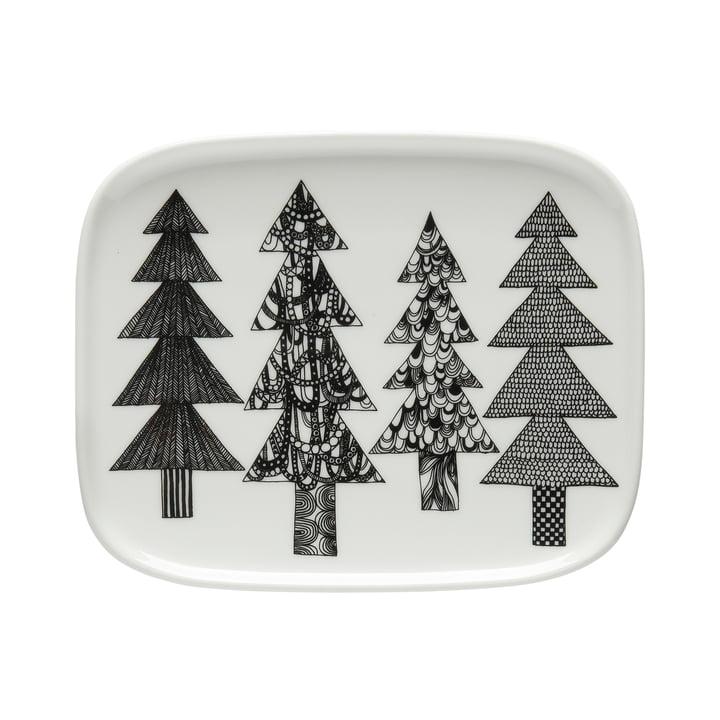 Oiva Kuusikossa serveringsplade 15 x 12 cm af Marimekko i sort / hvid