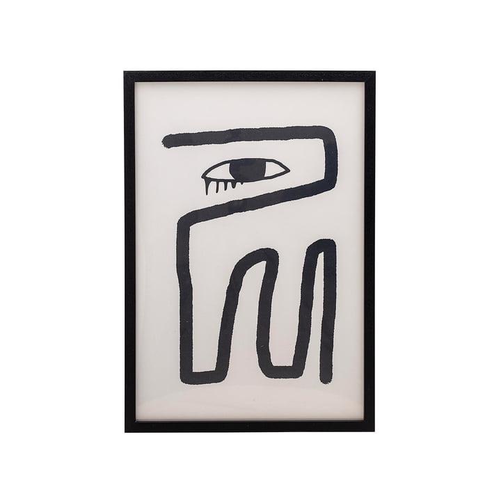 Indrammet plakat 45 x 65 cm af Bloomingville sort / hvid