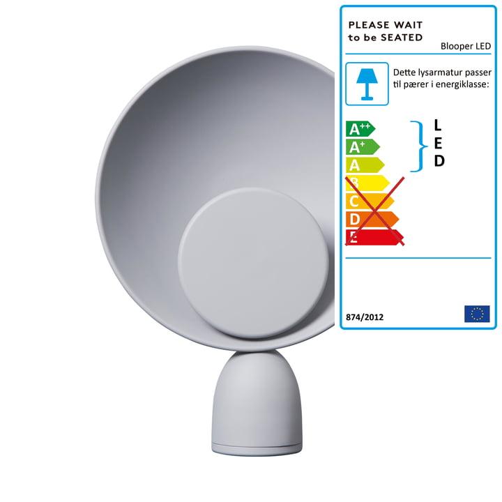 Blooper LED bordlampe i askegrå af Vent venligst til at sidde